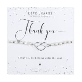 Life Charms Thank You For Helping Us Tie The Knot Silver Plated Bracelet