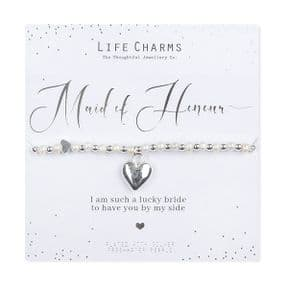 Life Charms Thank You Maid Of Honour Silver Plated Bracelet