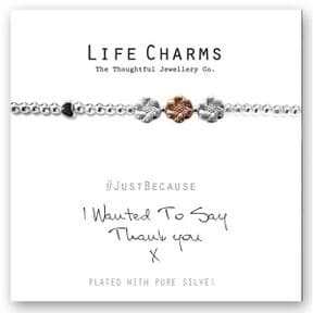 Life Charms Thank You Silver Plated Bracelet