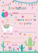 Llama Party Invitations Pack of 20
