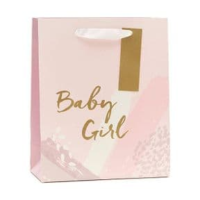Medium Pink New Baby Girl Gift Bag & Tag