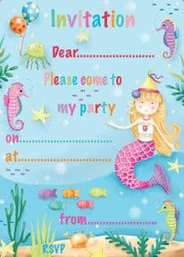Mermaid Party Invitations Pack of 20