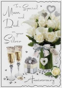 Mum & Dad Silver Wedding Anniversary Card