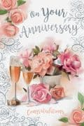 On Your Wedding Anniversary  Flowers Card