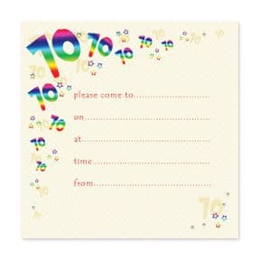 Pack of 10, 70th Birthday Party Invitations