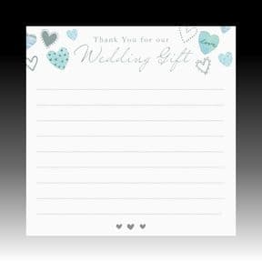 Pack of 10 Silver Foiled Wedding Gift Thank You Cards
