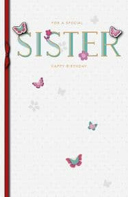 Sister Flowers & Butterfly Birthday Card