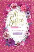 Sister Happy 70th Birthday Card