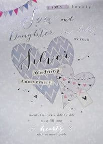 Son & Daughter in Law Silver 25th Wedding Anniversary Card