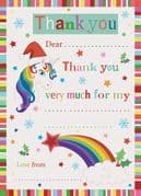 Unicorn Christmas Thank You Sheets - Pack of 20