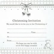 White Booties Christening Invitations - Pack of 10