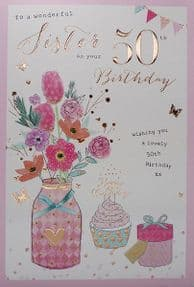 Wonderful Sister 50th Birthday Card
