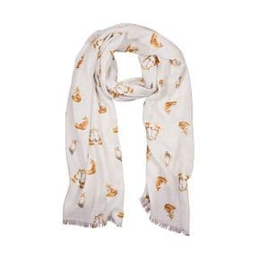 Wrendale Born to be Wild Fox Scarf (Grey)