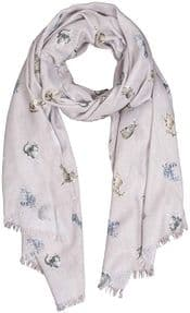 Wrendale Glamour Puss Cat Scarf (Grey)
