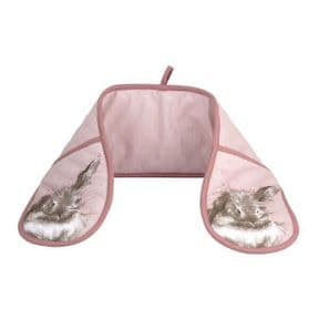 Wrendale Pink Rabbit Double Oven Gloves