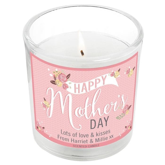 Personalised Floral Bouquet Mother's Day Scented Jar Candle