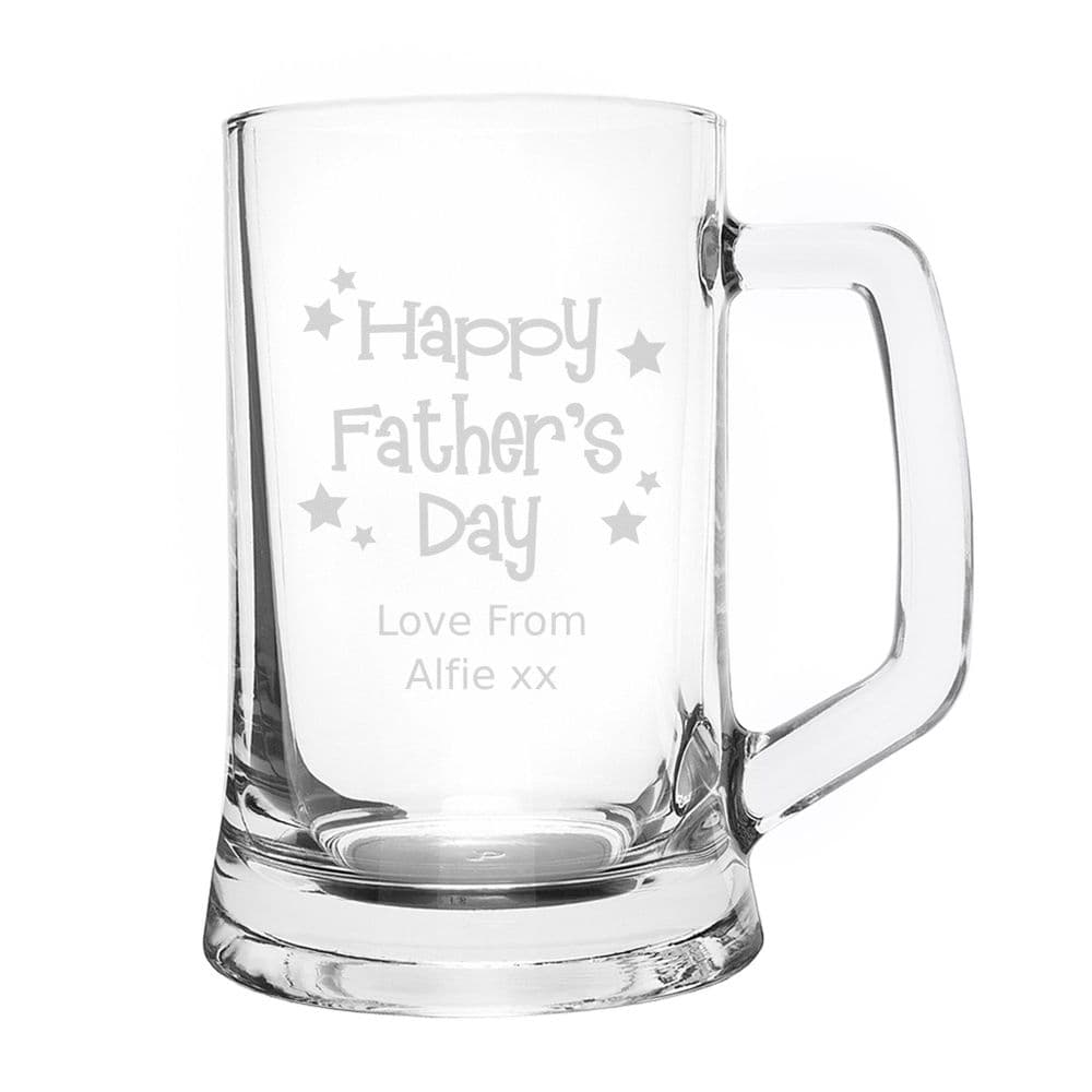 Personalised Happy Father's Day Stars Pint Stern Tankard