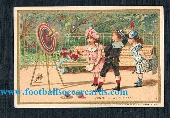 1880s darts card - The earliest darts card ever made? French classic by Au Bon Marche
