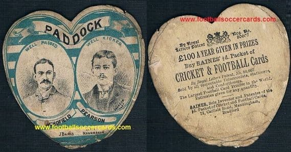 1880s Huddersfield Paddock rugby club SCHOFIELD and PEARSON card by Baines