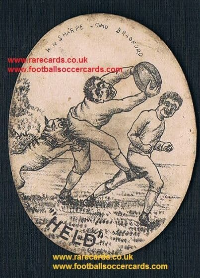 1880s Staffs pit bull terrier rugby terms card HELD W.N. Sharpe litho Bradford