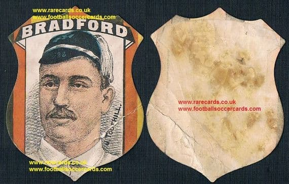 1890 John Jack Toothill Bradford England Yorks sugby cap & shield card