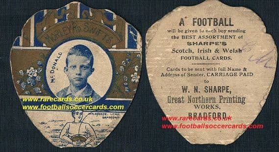 1890 Morley Road Swifts Derby County Sharpe card McDonald