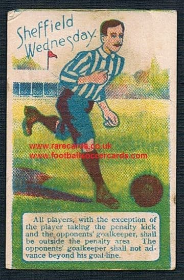 1890's Troman Rules of the game trade card Sheffield Wednesday