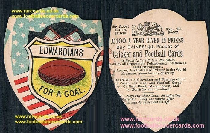 1890s USA St Edwards Austin TX early Gridiron Football card by Baines, Hilltoppers Crusaders