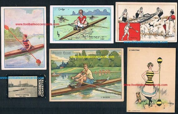 1900 -1930s Rowing cards 6 cards with Ogdens & French trade & Oxford Cambridge boat race