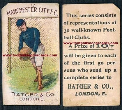 1900 Manchester City BATGER redemption card corner clipped as usual