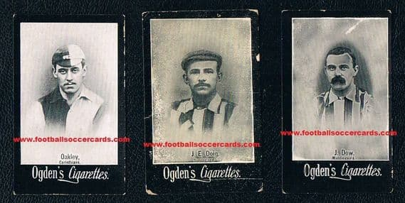 1901 three Ogdens cards, DR Gow & Ned Doig of Sunderland and Oakley Corinthians