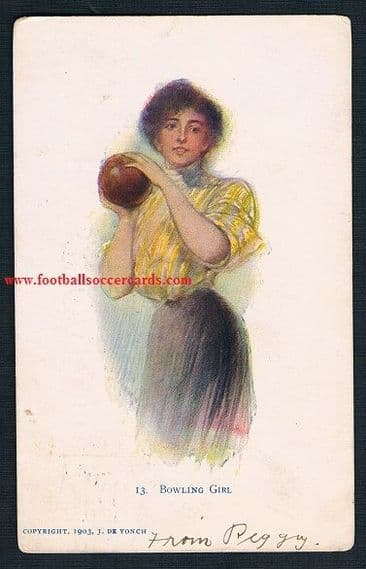1903 Bowling Girl postcard USA used in 1907 bowls alley women at play