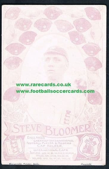 1905 Steve Bloomer England Wainwright card Derby County - see image below of another sale for £600+