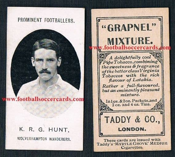 1908 Reverend Hunt ROOKIE ! Wolves Taddy footnote  GB Olympic gold Corinthians England International