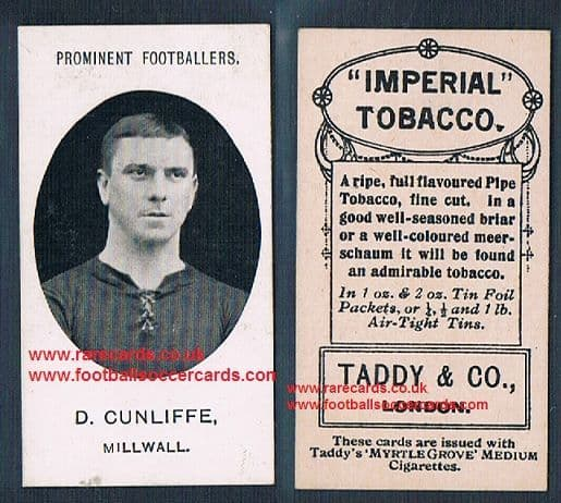 1908 Taddy 2nd series D Cunliffe Millwall footnote tobacco card