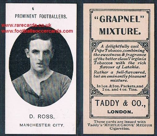 1908 Taddy 2nd series D.Ross Manchester City footnote tobacco card