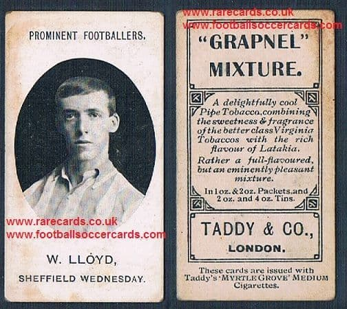 1908 Taddy 2nd series  footnote tobacco card Sheffield Wednesday W Lloyd