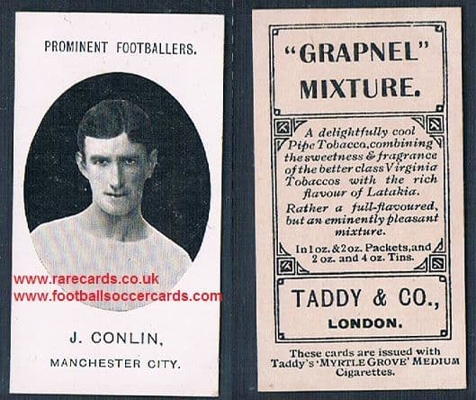1908 Taddy 2nd series J Conlin Manchester City footnote tobacco card