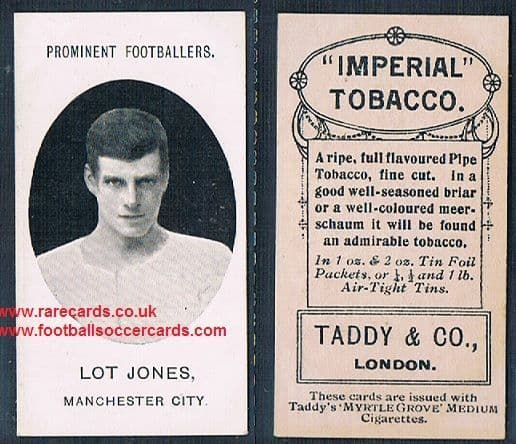 1908 Taddy 2nd series Lot Jones Manchester City footnote tobacco card