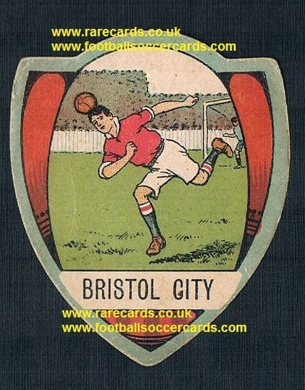 1909 Baines football card Bristol City red shirts Charles Rennie Mackintosh design