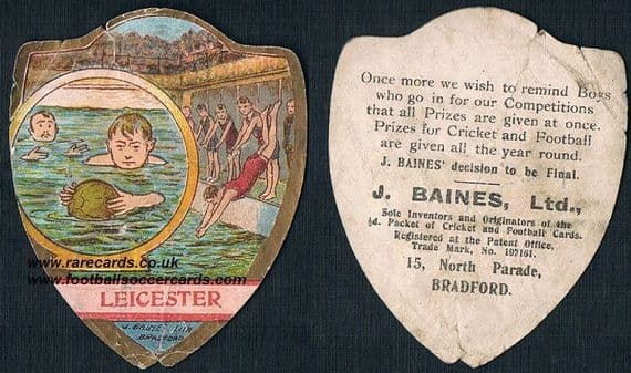 1910 Leicester water polo team card by Baines