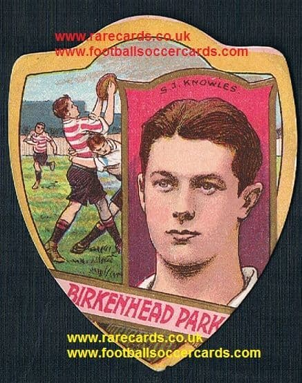 1910 S.J. Knowles rugby star Birkenhead Park Baines card