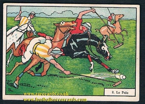 1910s Tours Tissus horse equestrian polo card 2 French trade card