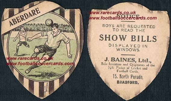 1912 Baines of Bradford shield cards Aberdare F.C. show bills back