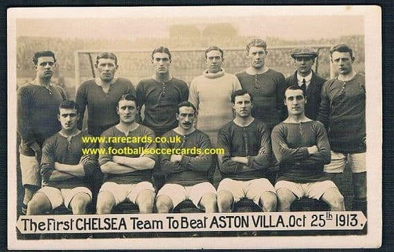 1913 Chelsea F.C. Blues postcard First Pensioners team to beat Aston Villa