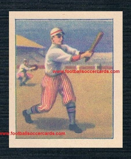 1920s decal transfer of baseball players in red striped trousers actually inverse image