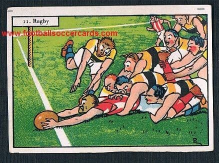 1920s Spanish cartoon rugby scene on a dedicated trade card