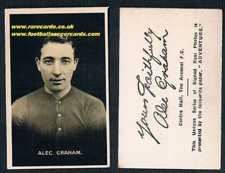 1922 Alec Graham Arsenal Adv Signed
