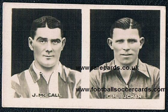 1922 Champion Comic UNCUT double card with Chas Buchan Sunderland and McCall PNE