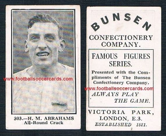 1922 legendary athlete Chariots of Fire Harold Abrahams 303 Bunsen confectionery